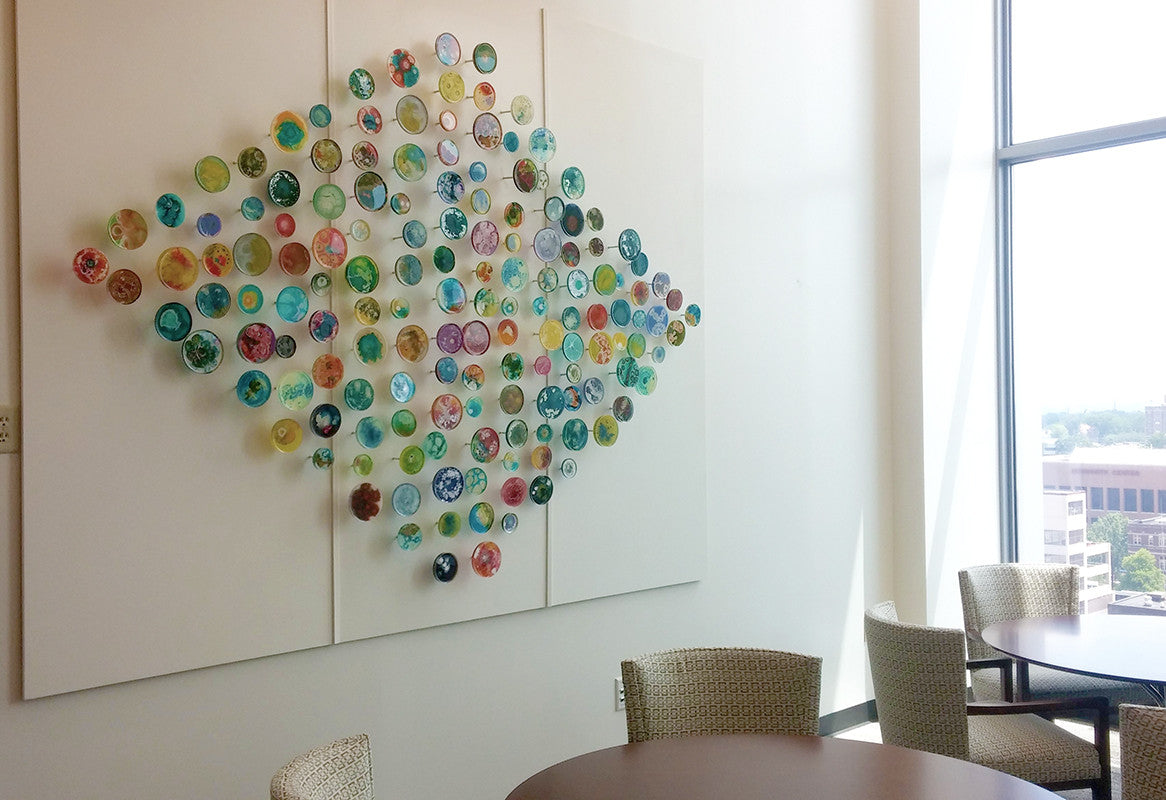Evolution / 10' x 8' / custom sizes available / mixed media on petri dishes