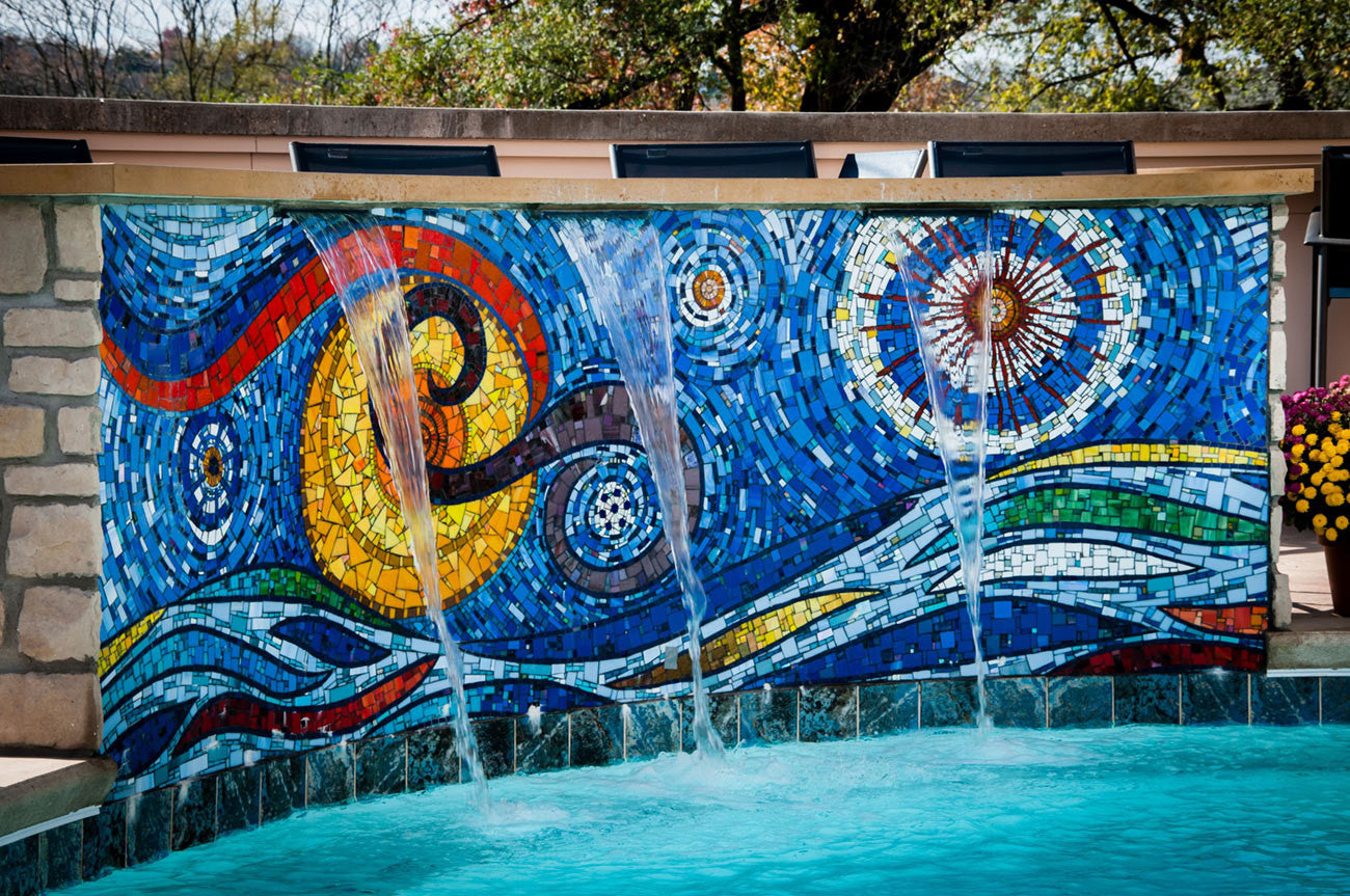Starry Fountain (commisionable) / glass mosaic / 12' x 4'