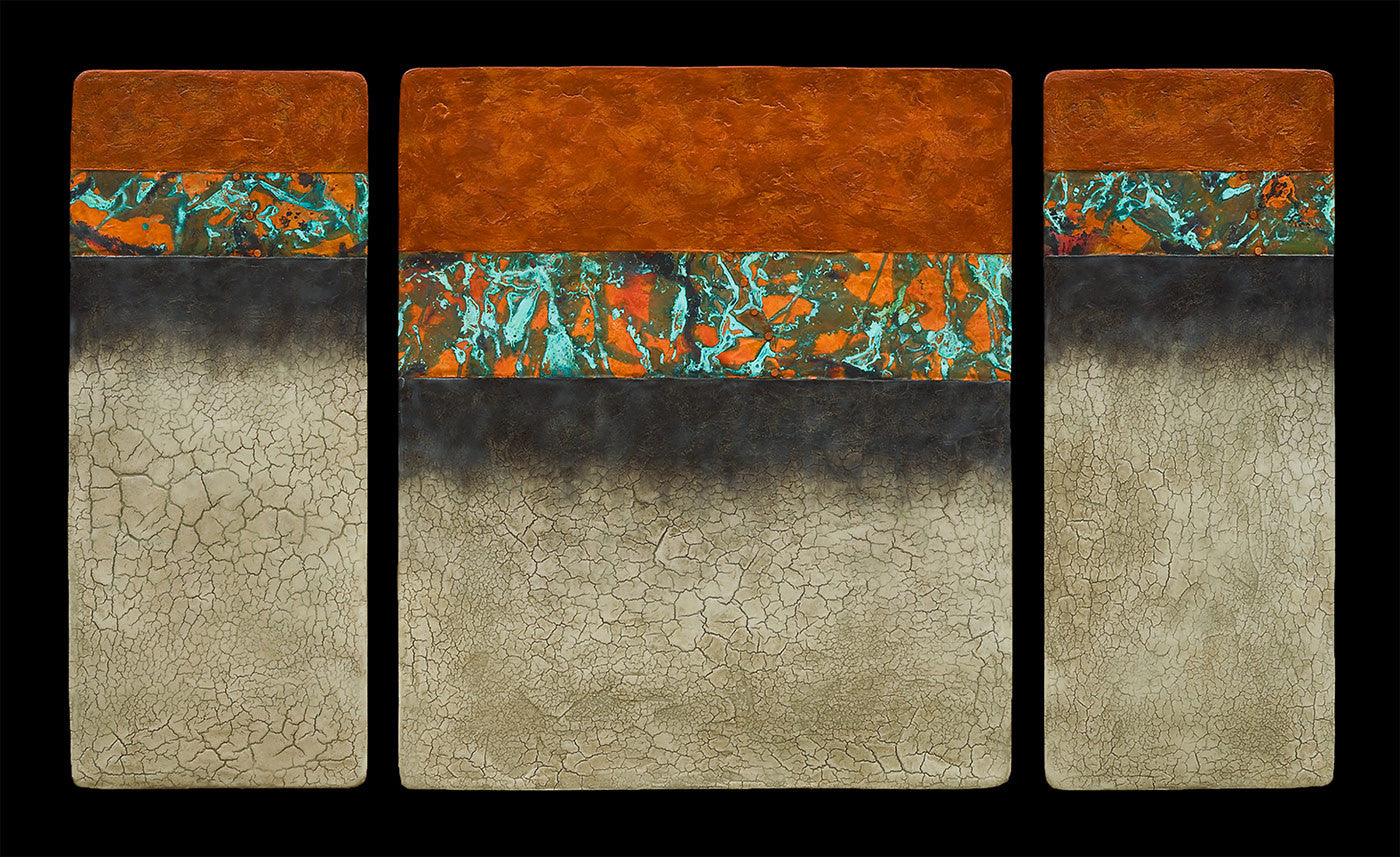 Canyon Walls / 48 x 26 x 1.5 / abaca fiber panels copper leaf and fired copper - acrylic paints and encaustic bees wax