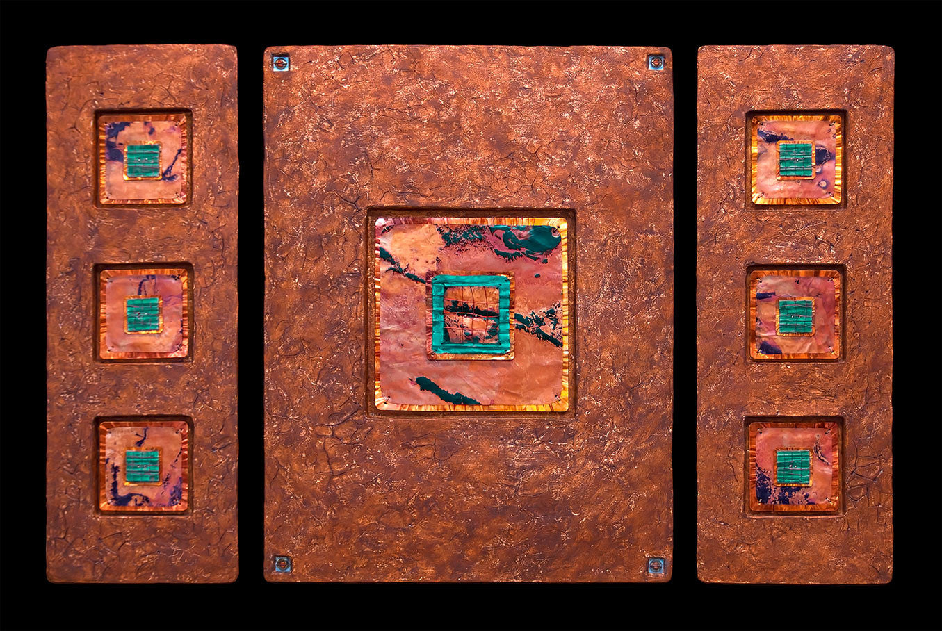 Jewels from Within / 40 x 24 x.75 / copper leaf with fired and patinaed copper on abaca fiber panels