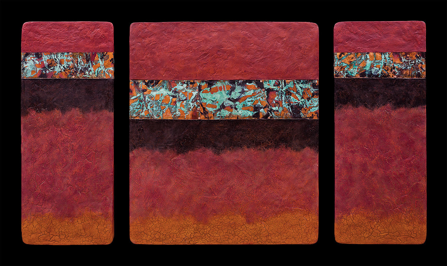 Canyon Walls 2 / 48 x 26 x 1.5 / abaca fiber panels copper leaf and fired copper - acrylic paints and encaustic bees wax