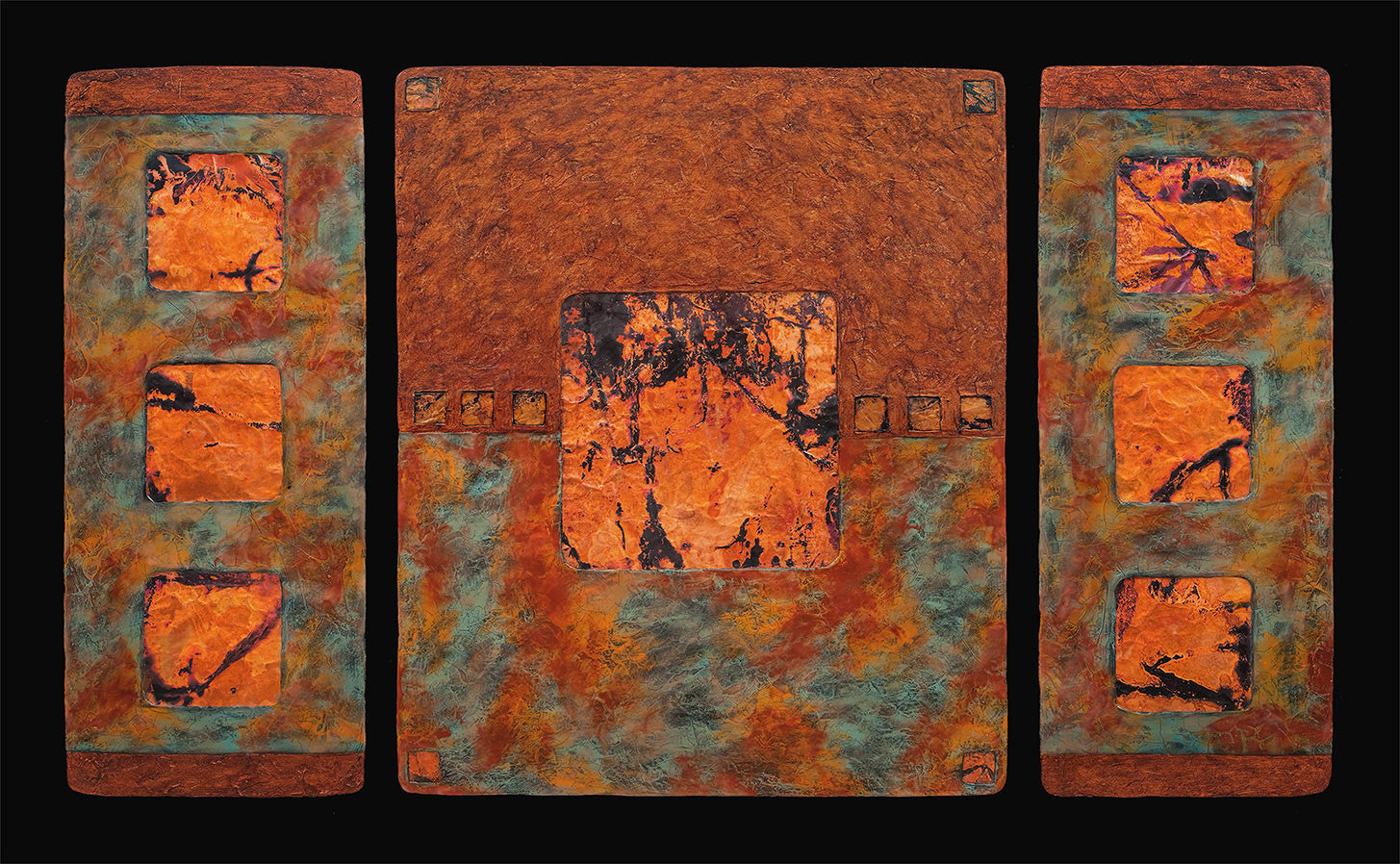 Earth & Fire / 55 x 32 x 1.5 / copper leaf - acrylics - fired and patinaed copper on abaca fiber panels
