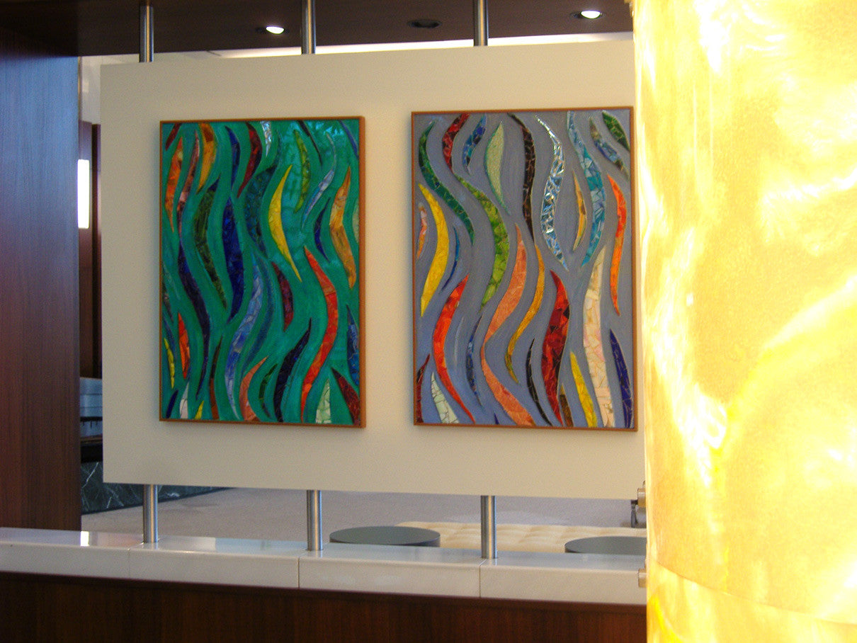 Ebb and Flow (2 panels) / mixed media / 30 x 42 each