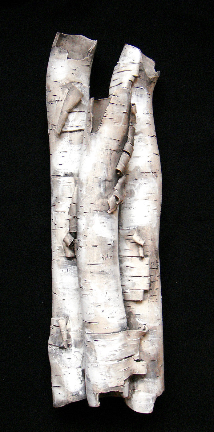 High Relief in Birch / 25 x 10 x 5 / ceramic with terra sigillata and stain