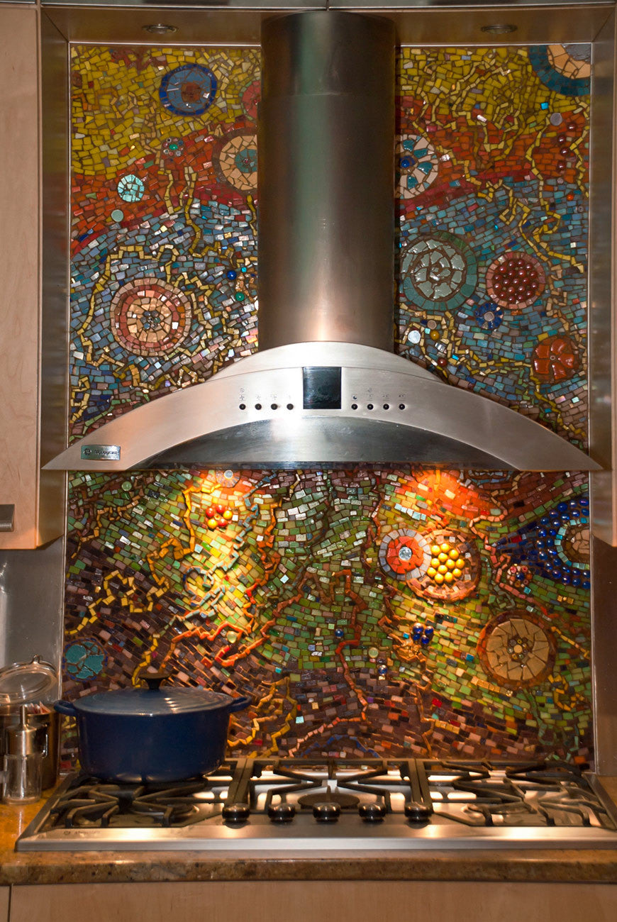 Celestial Backsplash (commisionable) / glass mosaic / 36 x 72