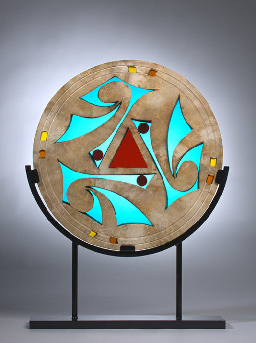 Anasazi Window Sculpture / 18 x 22 / stained glass and clay on metal stand