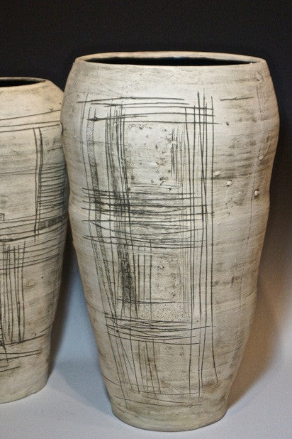 Big Vessels / 14 x 22 and 15 x 25 / wheel thrown stoneware with slips, underglaze and glaze