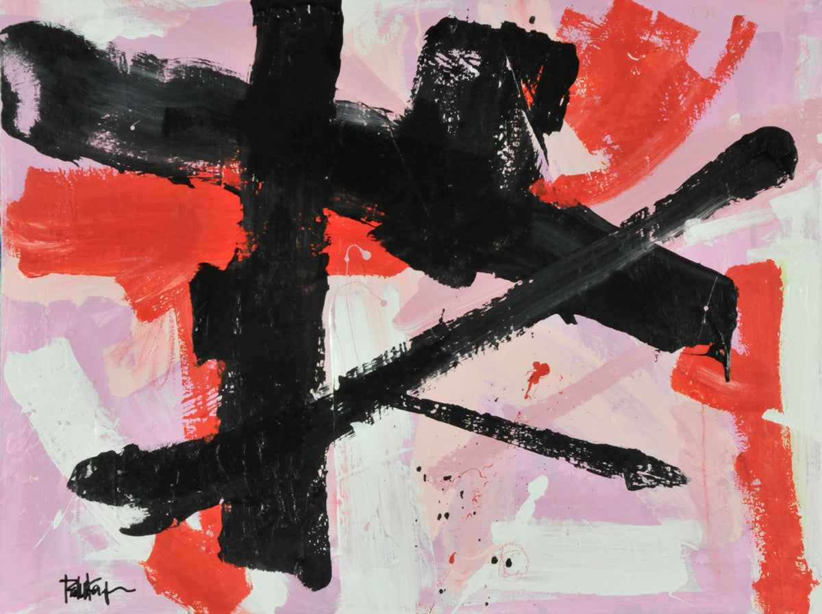 Black Red Orange and Pink Marks / 40 x 30 x 1.5 / acrylic