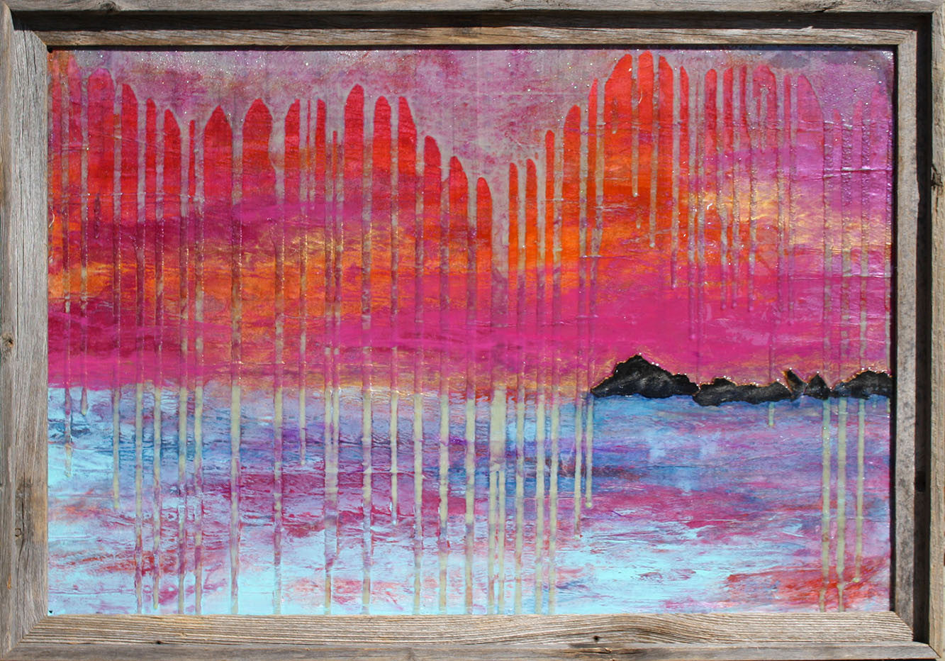 Black's Island / 36 x 24 / mixed media with barnwood frame