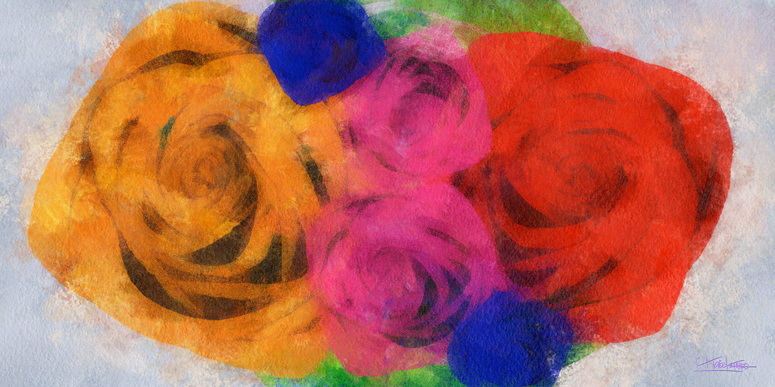 Bouquet / 56 x 28 x 2.5 / digital art on canvas