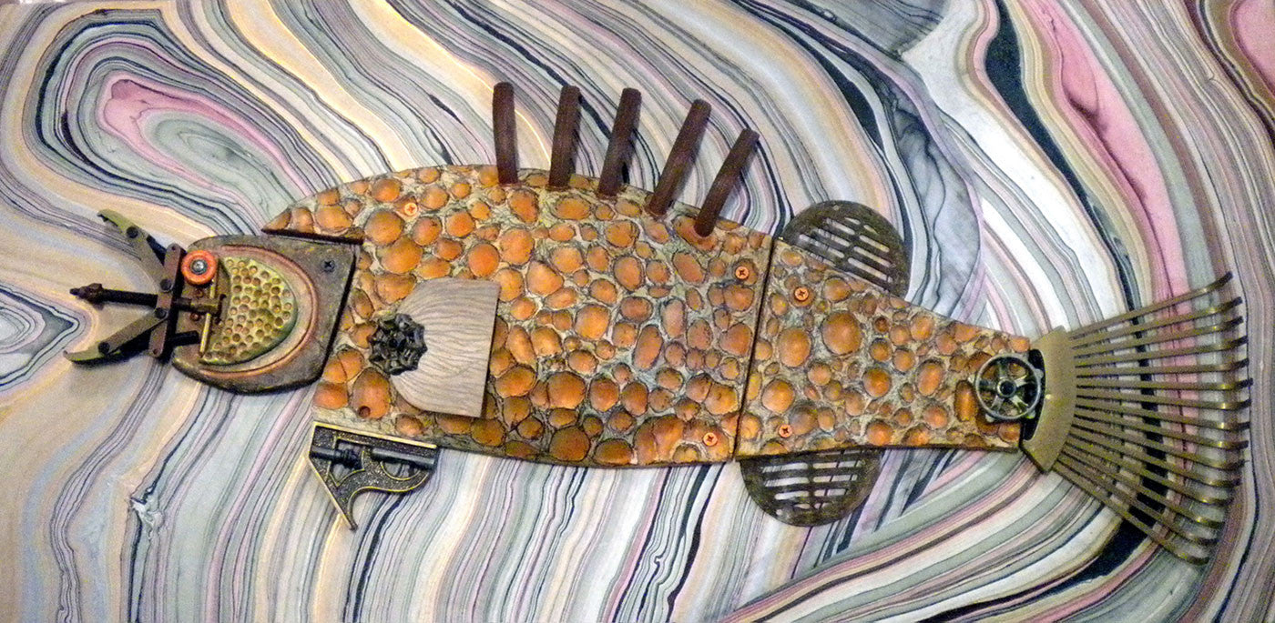 Brown Fish / 54 x 32 x 4 / extrusion terracotta and recycled metal