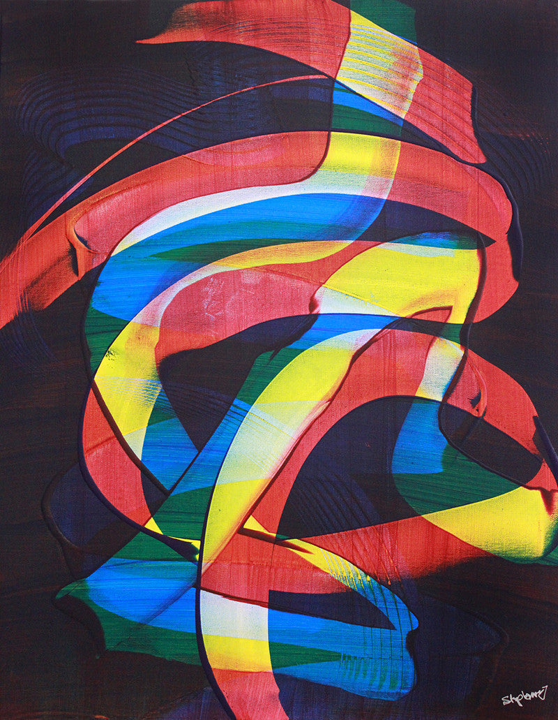 Carnival / 36 x 24 (41 x 29 framed) / fluid acrylic on canvas
