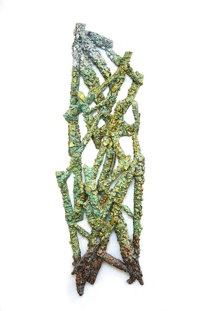 Coral Entanglement / 68x22x5 / patinated bronze - gold - aluminum metallic powder on aqua resin