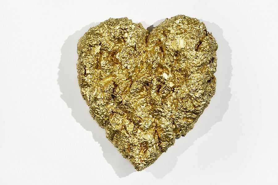 Heart of Gold / 28x24x7.5 / gold leaf metallic powder on aqua resin