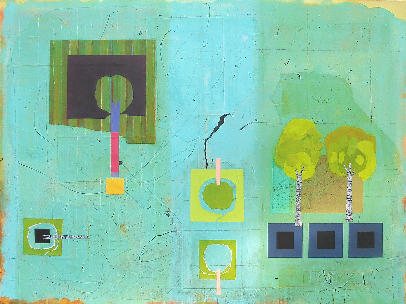 Color (In) Forms #1 / 48 x 36 / acrylic and mixed media on canvas