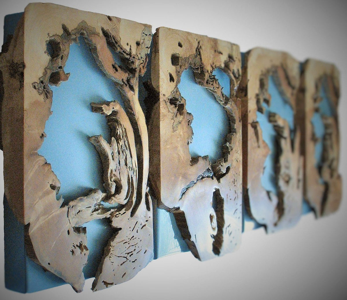 Decomposition on Blue / 13.5 x 19.5 x 3 each / ash and painted steel