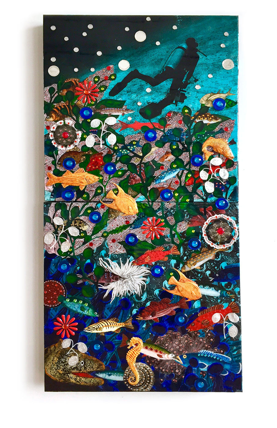 Diver / 24 x 48 / acrylic on board with collage - jewels - findings and epoxy resin