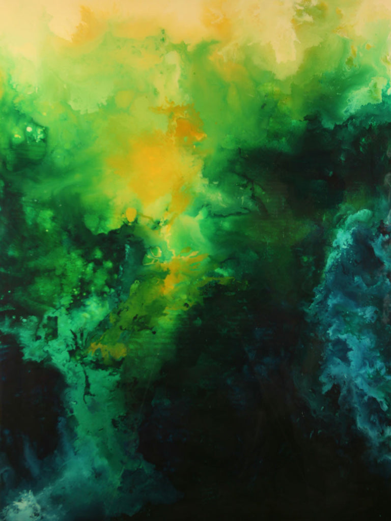 Emerald Dream / 36 x 48 x 2 / acrylic and resin on board