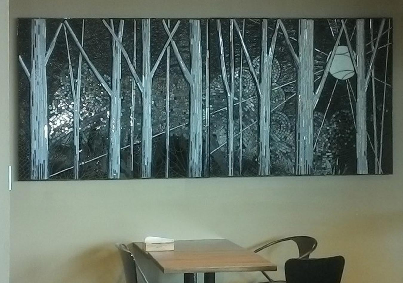 Midnight Forest / 112 x 48 / mosaic glass mural