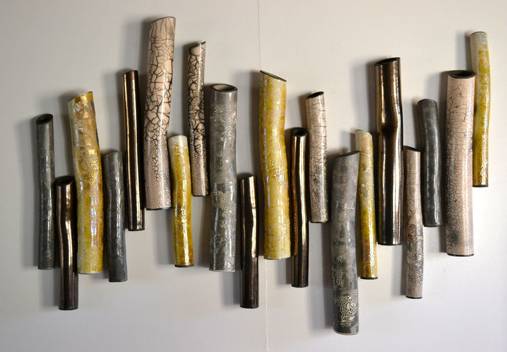 Forest (Aztec Gold) / 39 x 55 x 4 / Raku ceramic