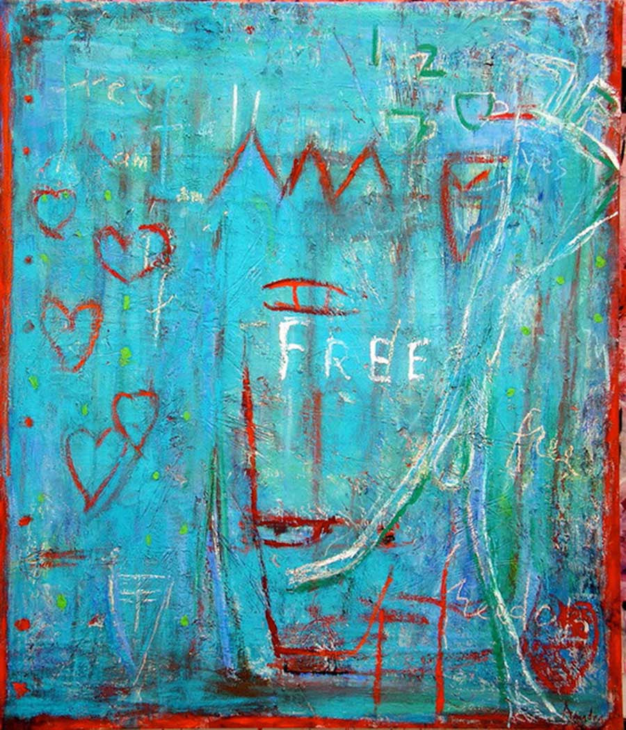 Free Fall / 62 x 54 / mixed media on canvas