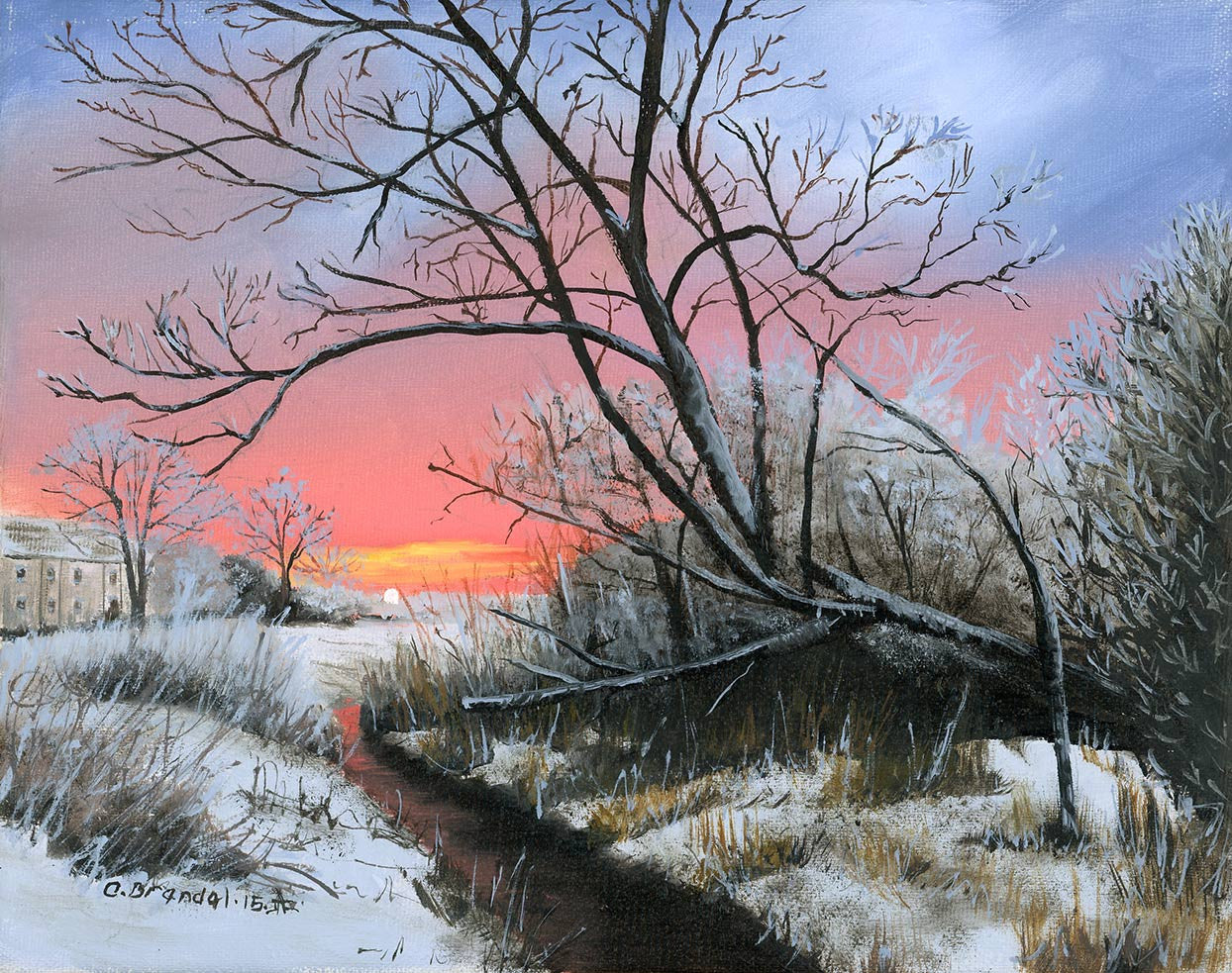 French Winter Sunrise / 10 x 8 / oil on canvas