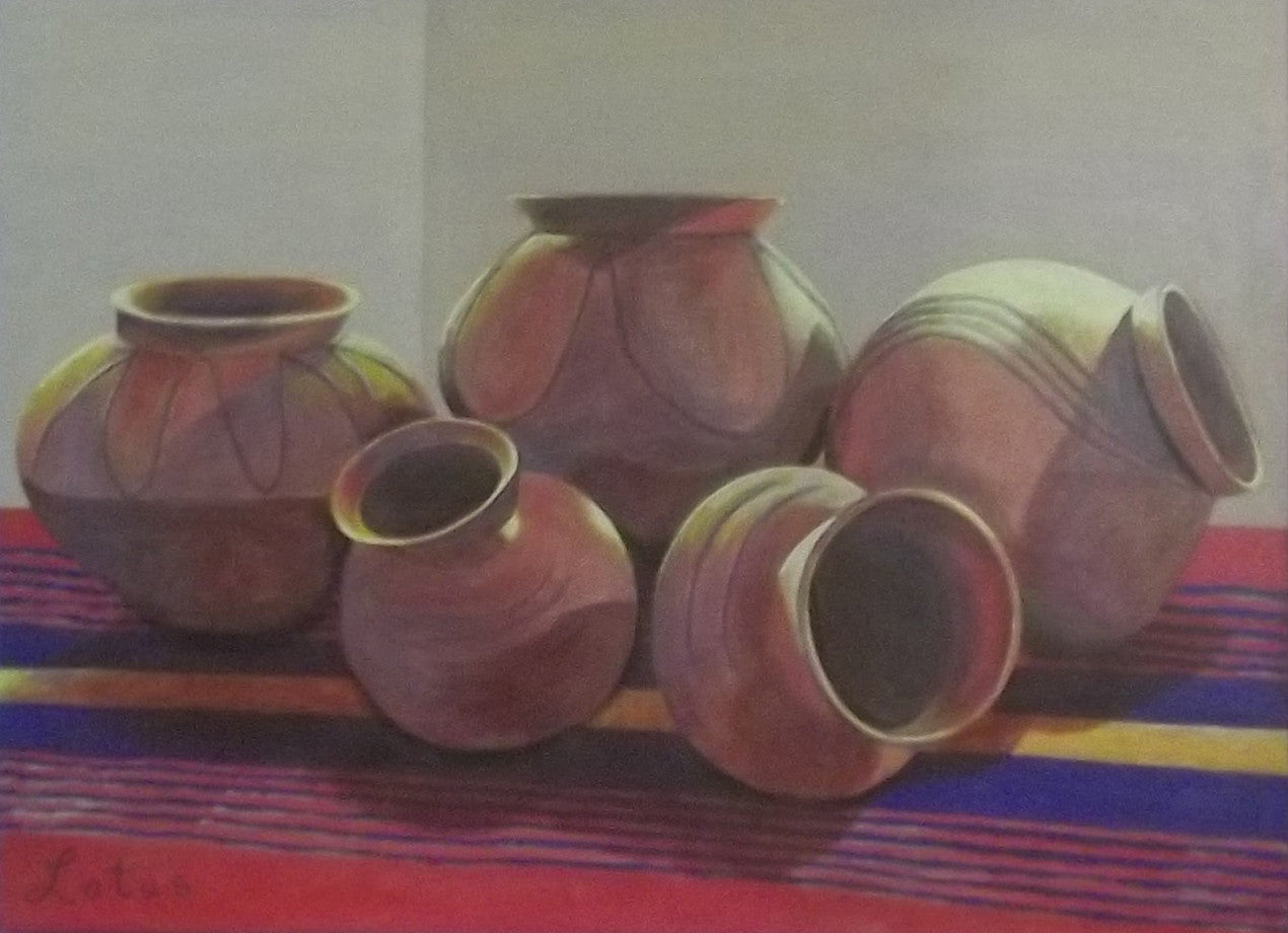 Indian Pottery on Blanket / 48 x 36 / acrylic on self framed canvas