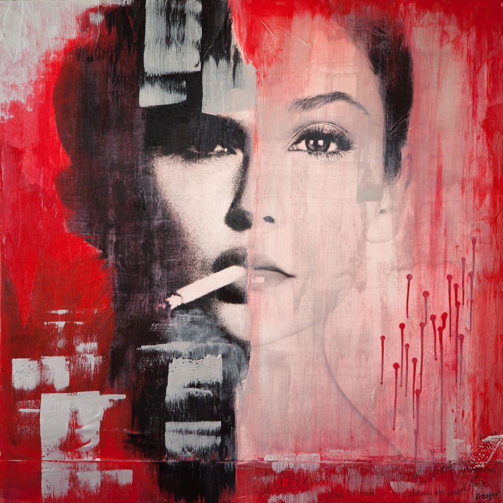 Judgment / 36 x 36 / mixed media on wood panel - SOLD