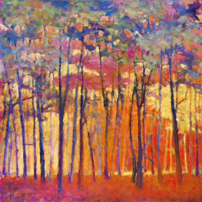 View Through the Orange and Red Woods / 40x40 / oil on canvas / giclee prints in various sizes
