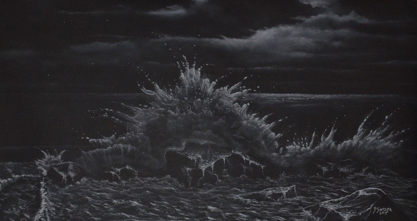 Land and Sea Collide / 48 x 27 / chalk on paper