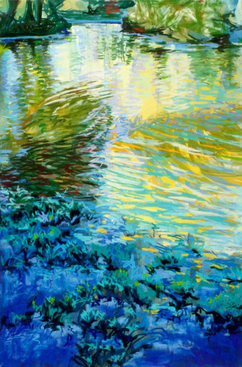 Light Over Water / 24 x 36 / acrylic - soft pastel - on paper