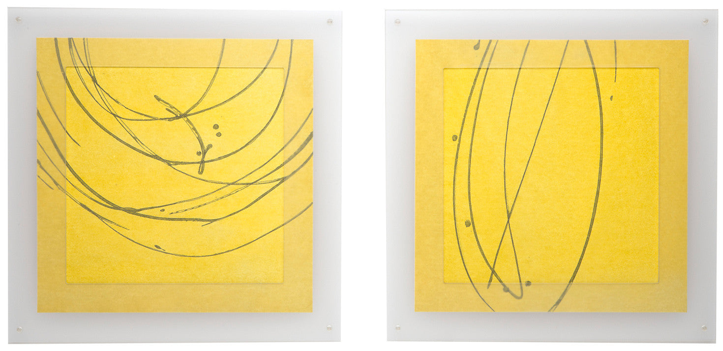 Line Drawing #2 / 43 x 20 diptych / paper, paint, synthetic fabric and machine stitch