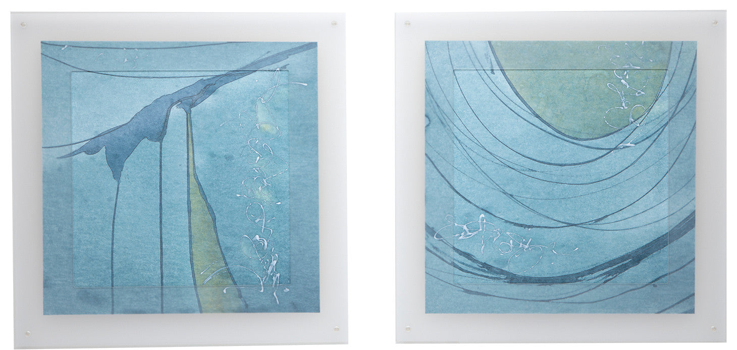 Line Drawing #1 / 43 x 20 diptych / paper, paint, synthetic fabric and machine stitch