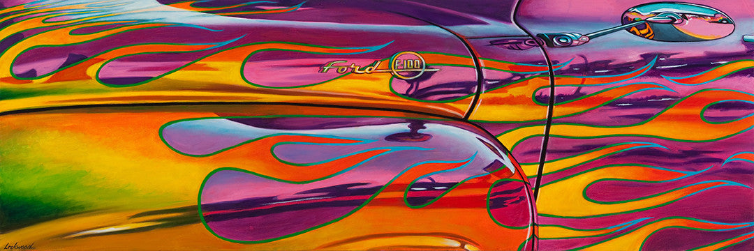 Ford 'n Flames / 72 x 24 / painting on canvas