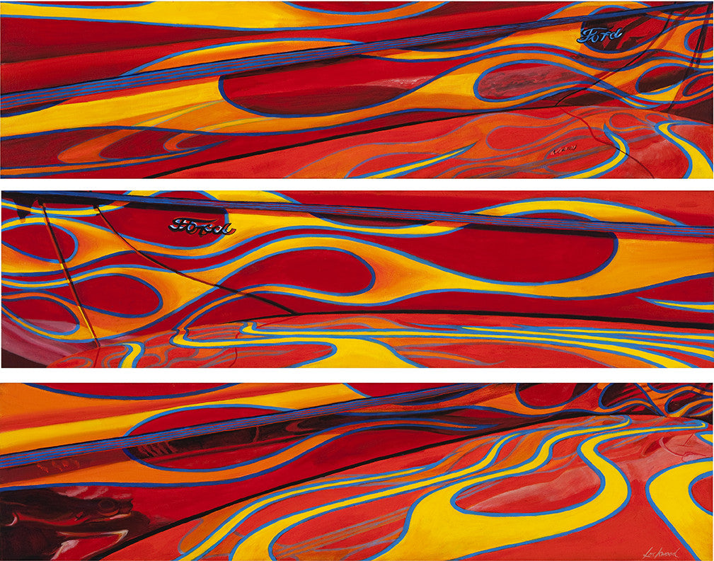 Hot Rod Ford - triptych / 48 x 36 / painting on canvas