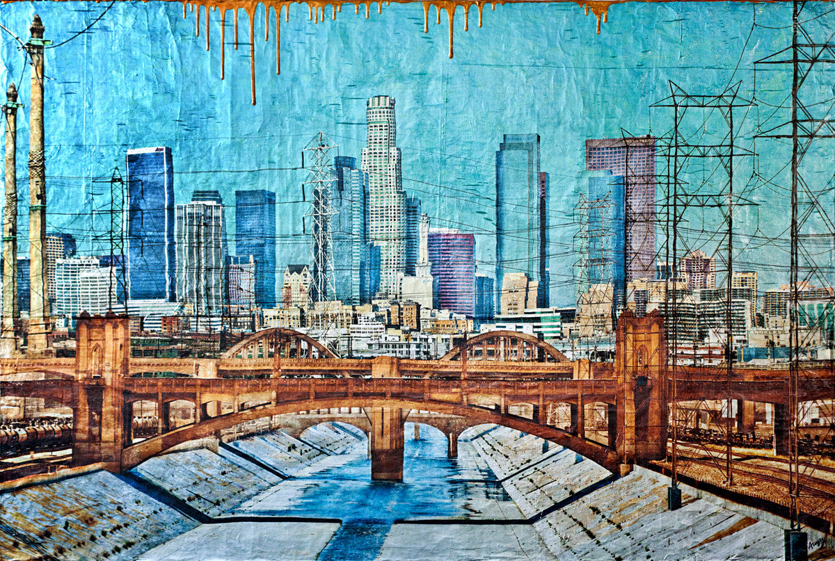 LA Grand View / 60 x 40 / mixed media on wood panel - SOLD