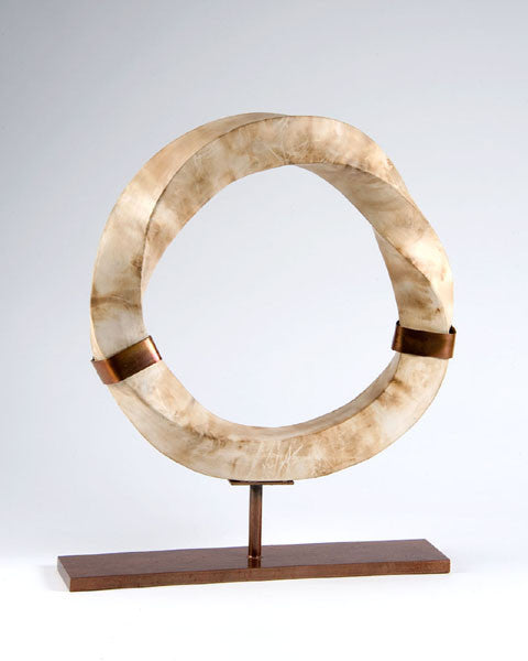 Mobius2 Sculpture / 15 x 15 x 3 / stained glass and clay on metal stand