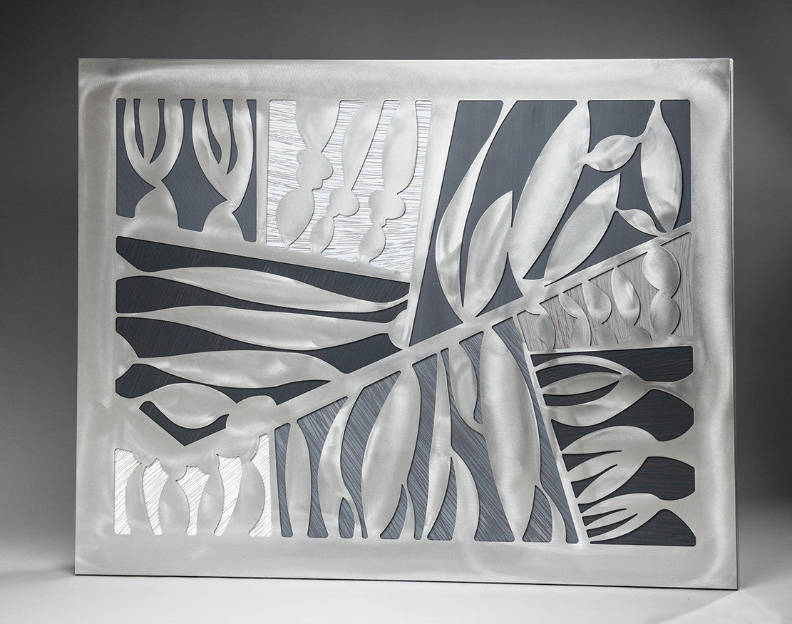Mangrove Inspired Botanical / 60 x 45 x 3 / aluminum over sqraffito painted background