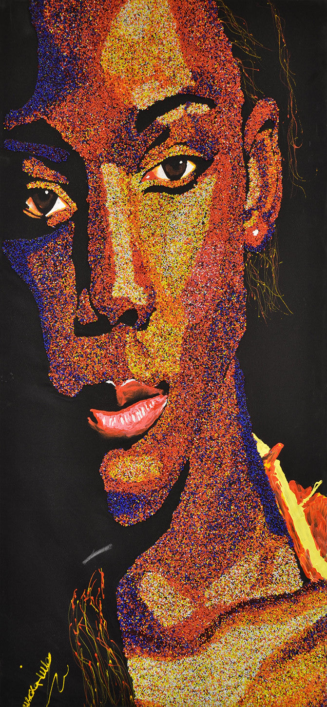 Modern Africa, by James Musoke-Lule / 27 x 57.7 / glass beads on fabric