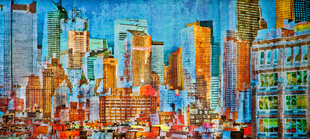 NY Blue / 56 x 24 / mixed media on wood panel - SOLD