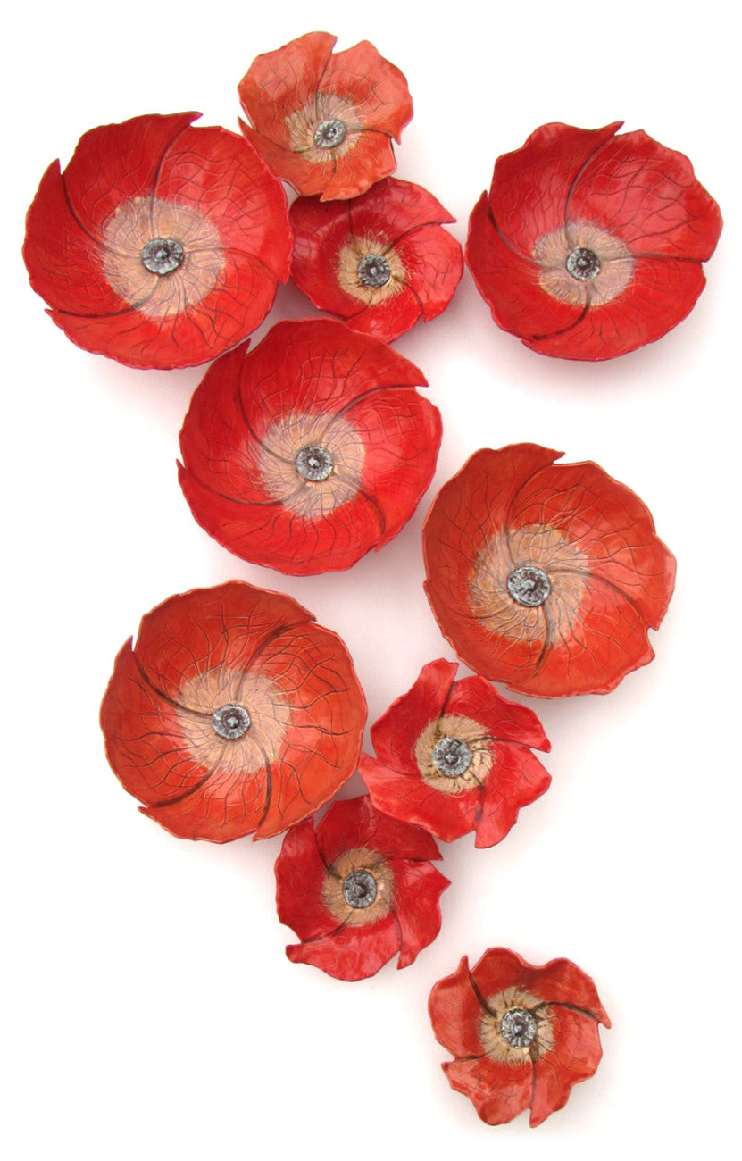 Poppies / configuration shown is 60 x 36 x 5, also available in 20 x 14 x 8 / ceramics, $150 - $75 each