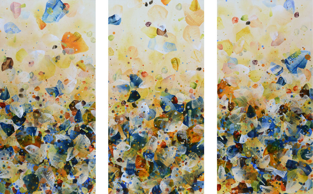Quiescence Blue (Triptych) / 60 x 36 / acrylic on canvas