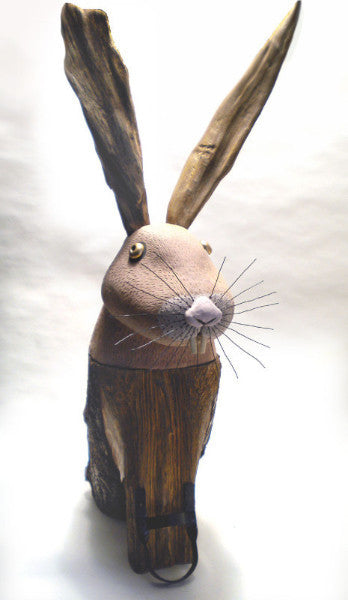 Rabbit / 15 x 37 x 22 / terracotta - stump - drift wood and recycled metal