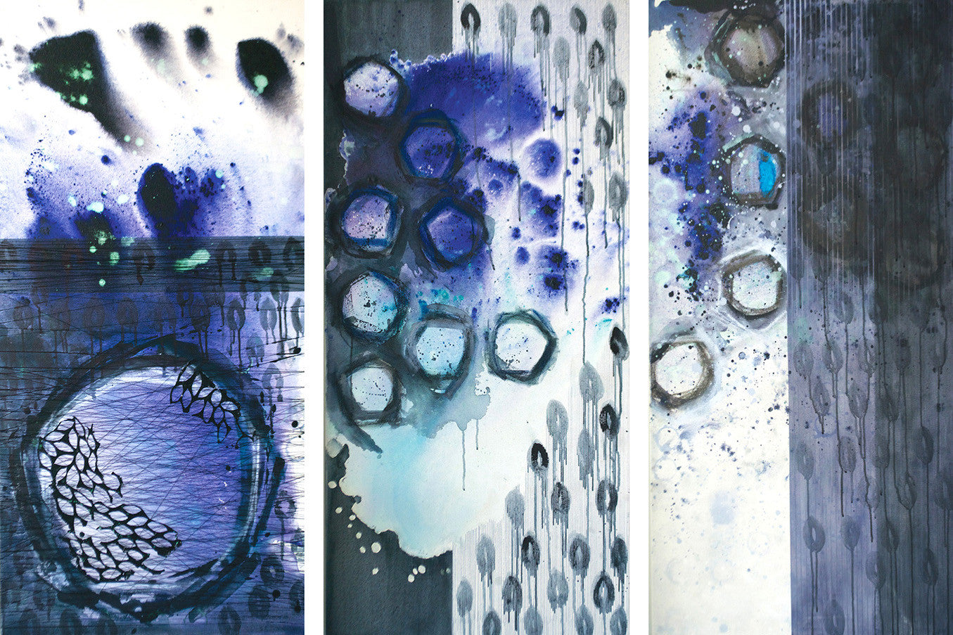 Untitled tiptych (sold separately - price reflects one piece) / 24 x 48 each / mixed media