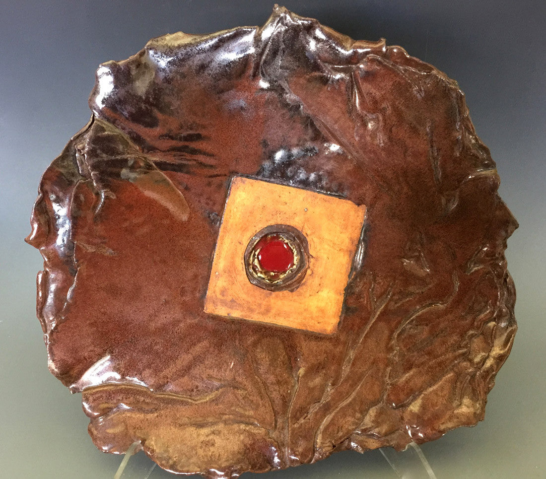 Red Cenote Platter / 15 x 15 x 3 / ceramic platter with melted glass