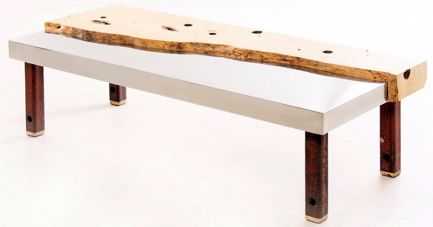 Spruce and Stainless Steel Coffee Table / 48 x 13.5 x 21 / spruce, stainless steel and reclaimed steel