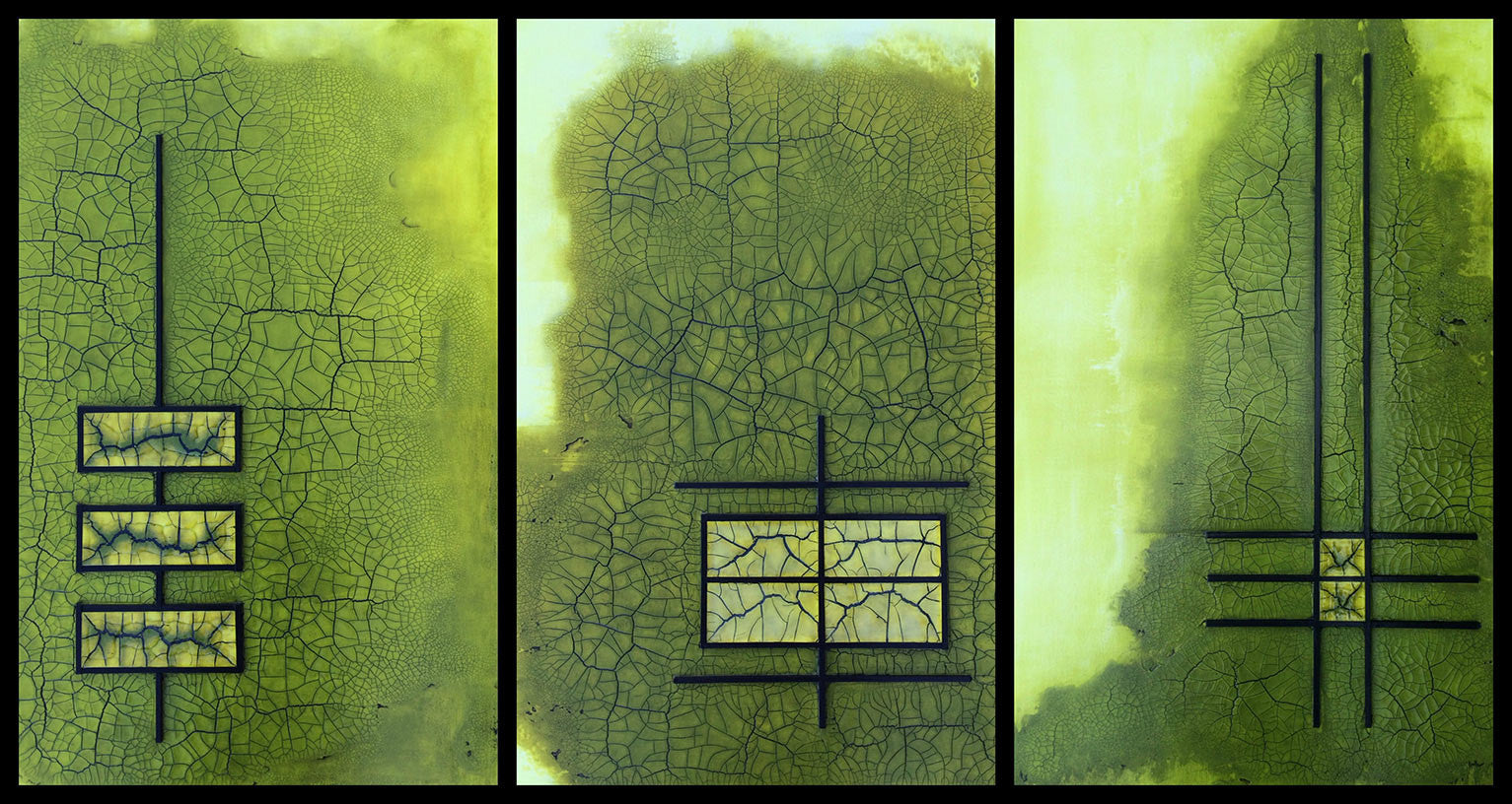 Raku Green Gold Triptych / 24 x 36 x 1.5 each / acrylics and wood mixed media