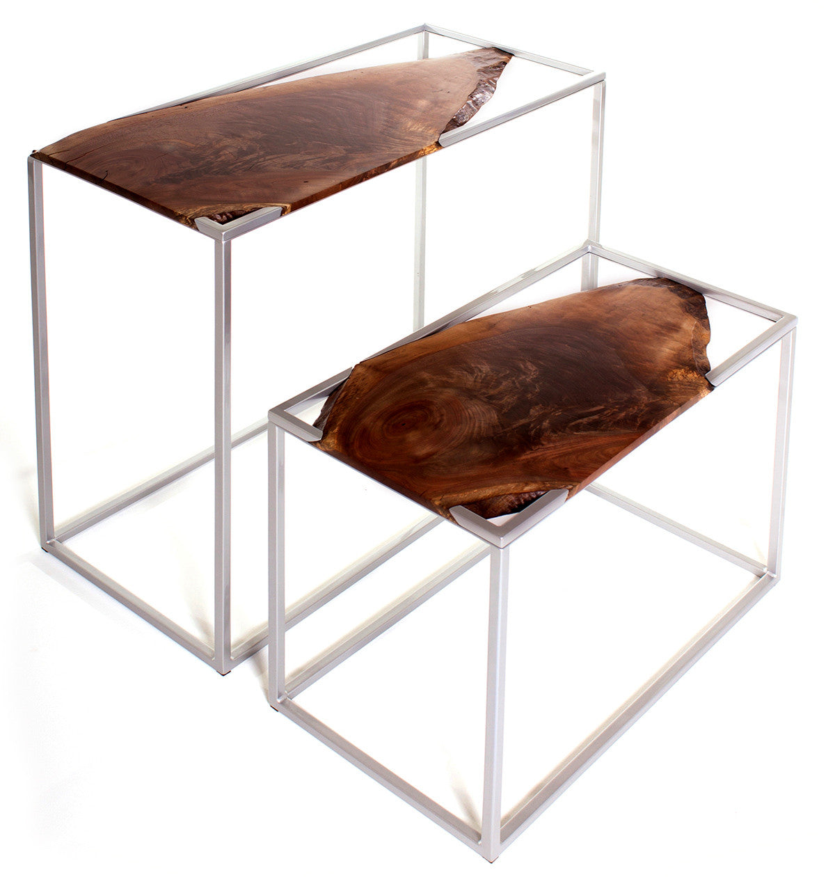 Transition Tables / 34 x 30 x 15 and 27 x 20 x 13.5 / walnut and painted steel