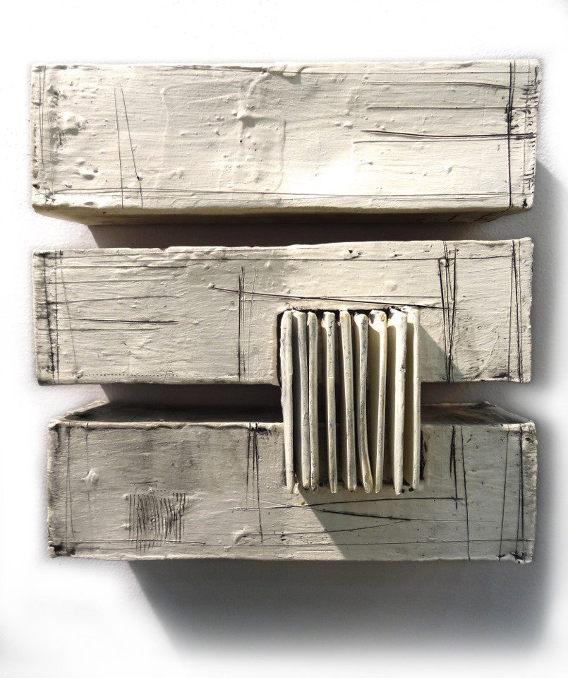Triptych / 9 x 9.25 x 2.5 / extruded and slab-built stoneware with slips
