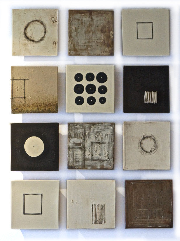 Twelve Tens / 10 x 10 x 2.5 each / slab-built stoneware with additions of slips - underglaze - glaze
